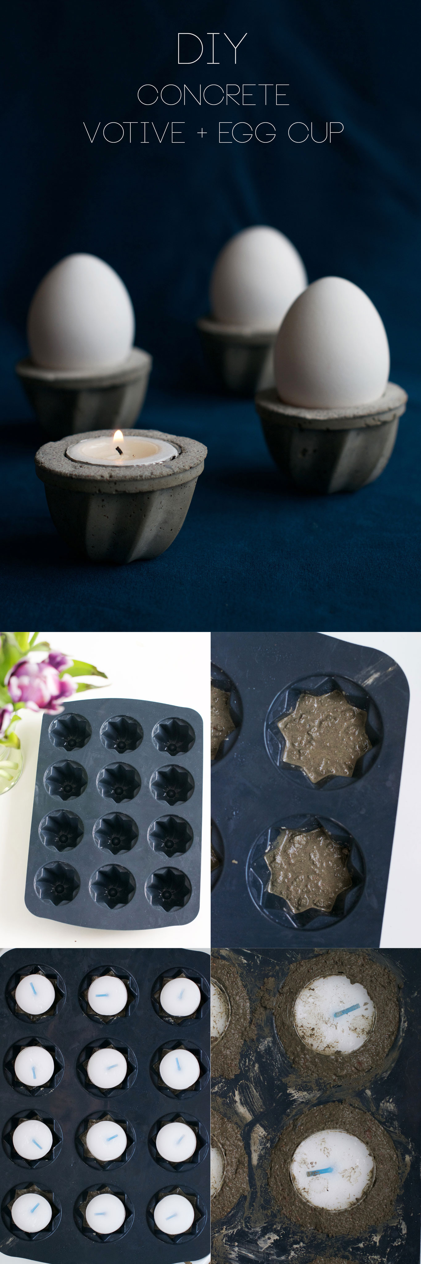 DIY Concrete Votive and Egg Cup Step-by-Step Tutorial | HungryHeart.se