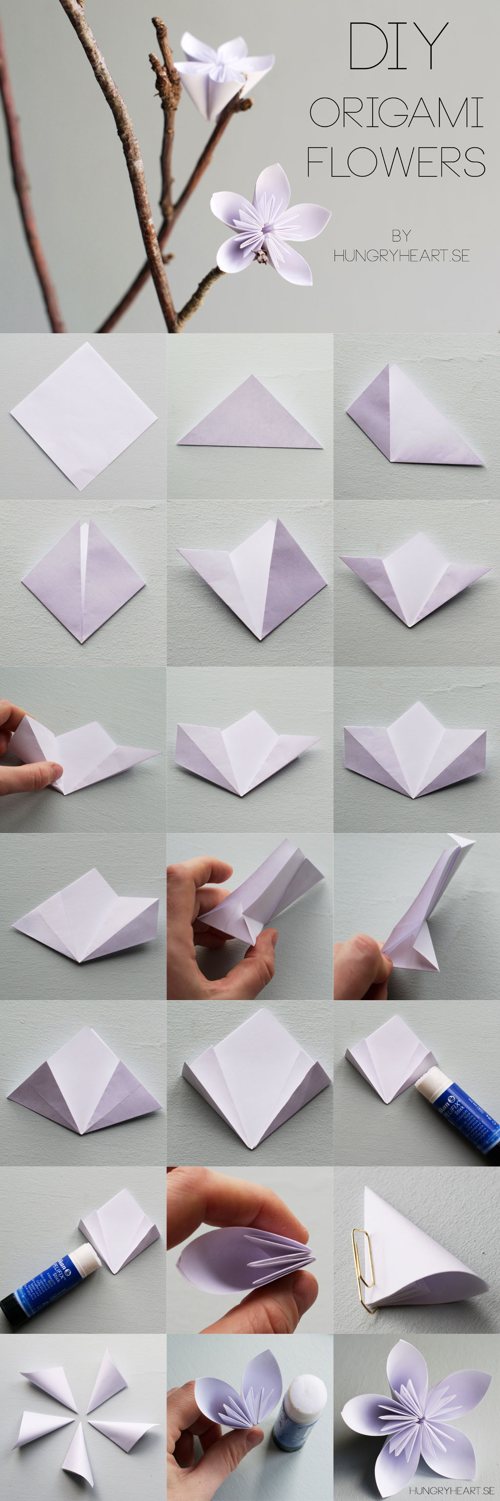 Diy origami flower tutorial hungry heart diy origami flower tutorial mightylinksfo
