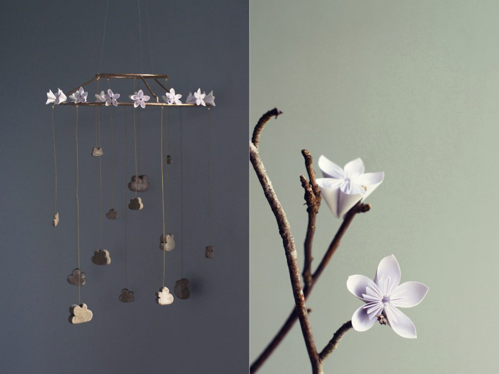DIY Cloud Mobile with Origami Flowers | HungryHeart.se