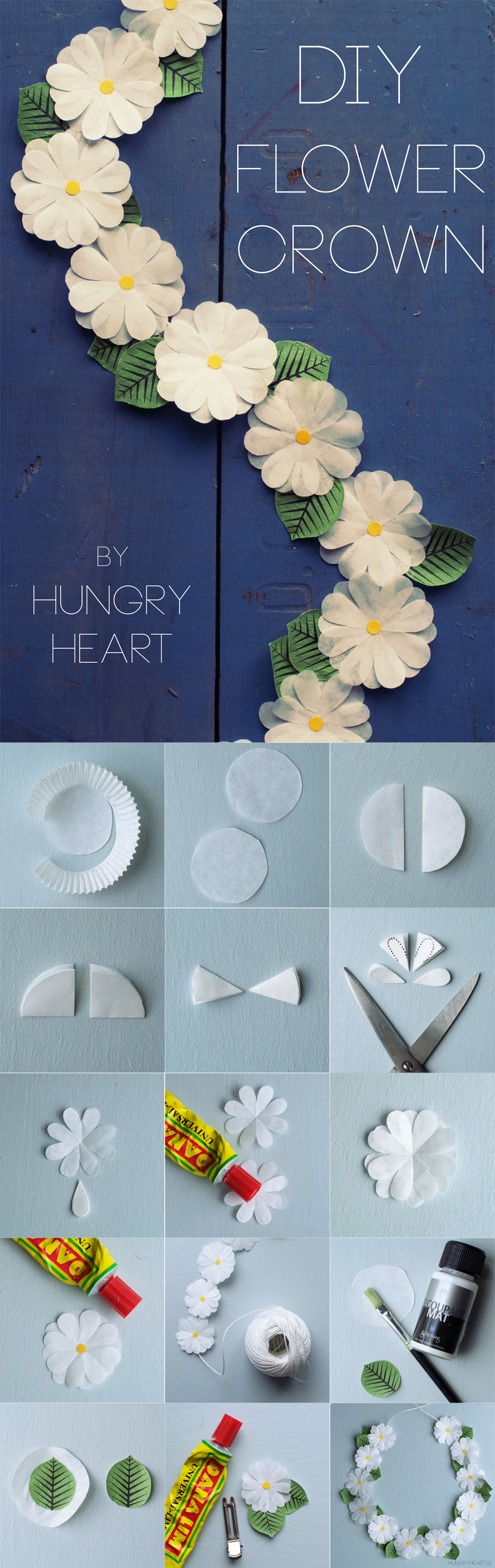 DIY Cupcake Liner Flower Crown Tutorial | HungryHeart.se