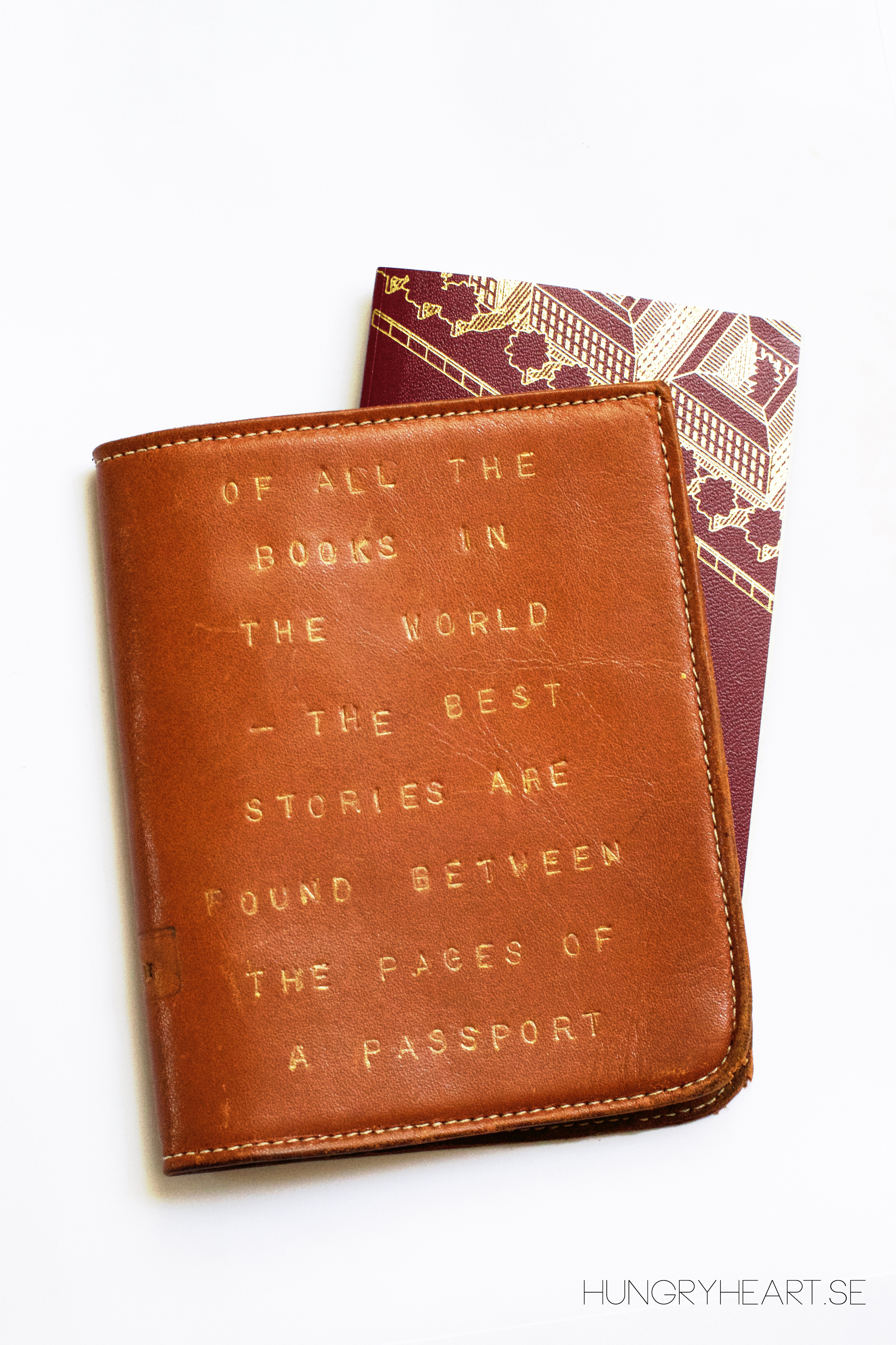 Diy Embossed Leather Passport Cover With Travel Quote