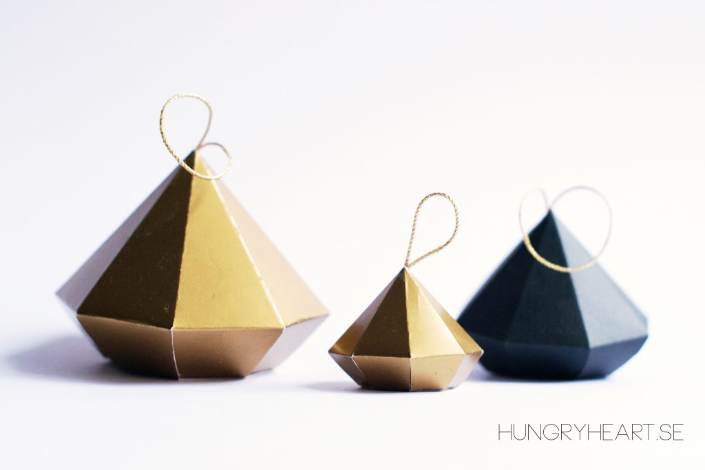 DIY Paper Diamond Ornaments with FREE Template | Hungry Heart