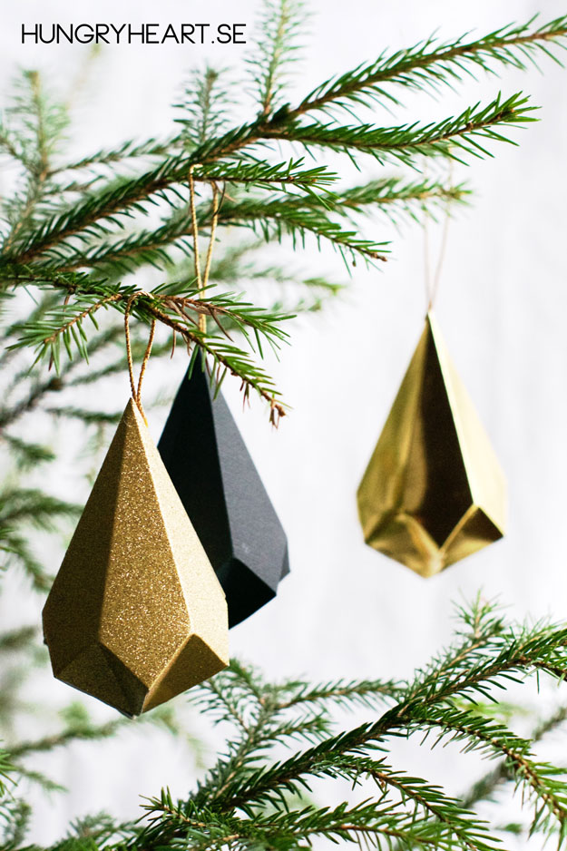 DIY Paper Crystal Ornaments with FREE Template | Hungry Heart