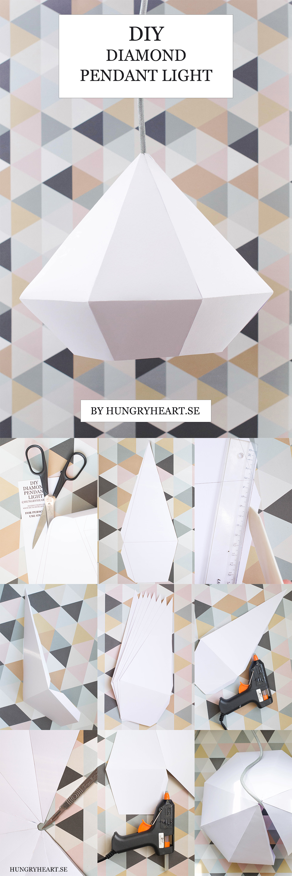 DIY Diamantlampa med GRATIS mall | Hungry Heart