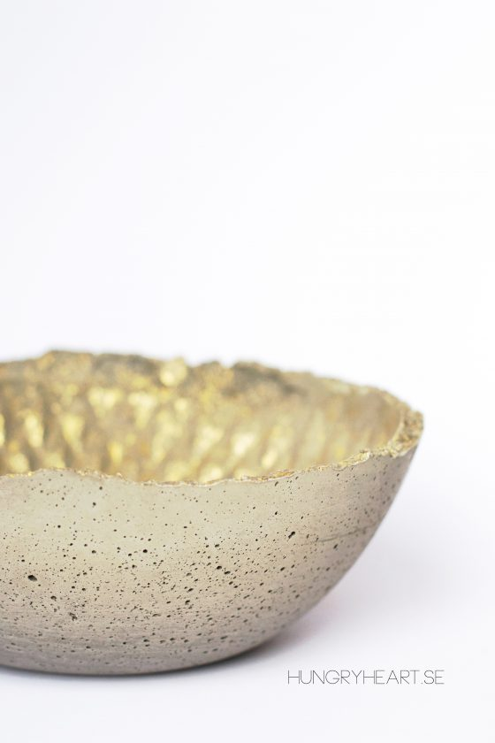 DIY Concrete Bowl with Gold Pattern | Hungry Heart